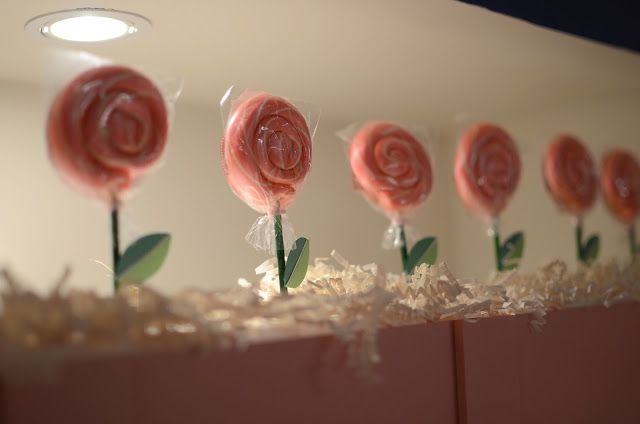 Pink bubblegum flavored lollipops available at http://www.jackrabbittoys.com in Sweet Shoppe Gifts.