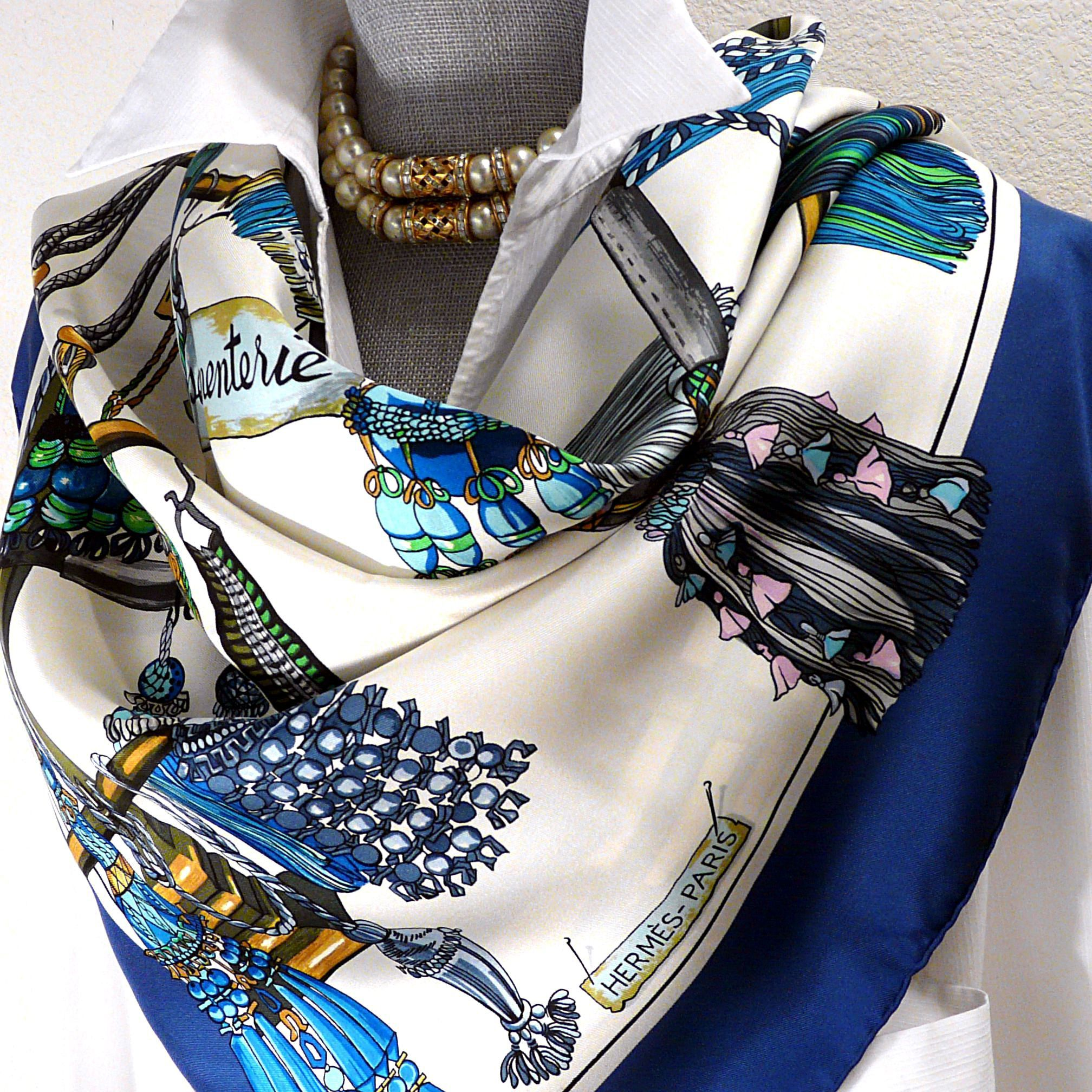 Authentic Hermes Silk Scarf Passementerie in Blue and White Colorway ... a0419e6225d