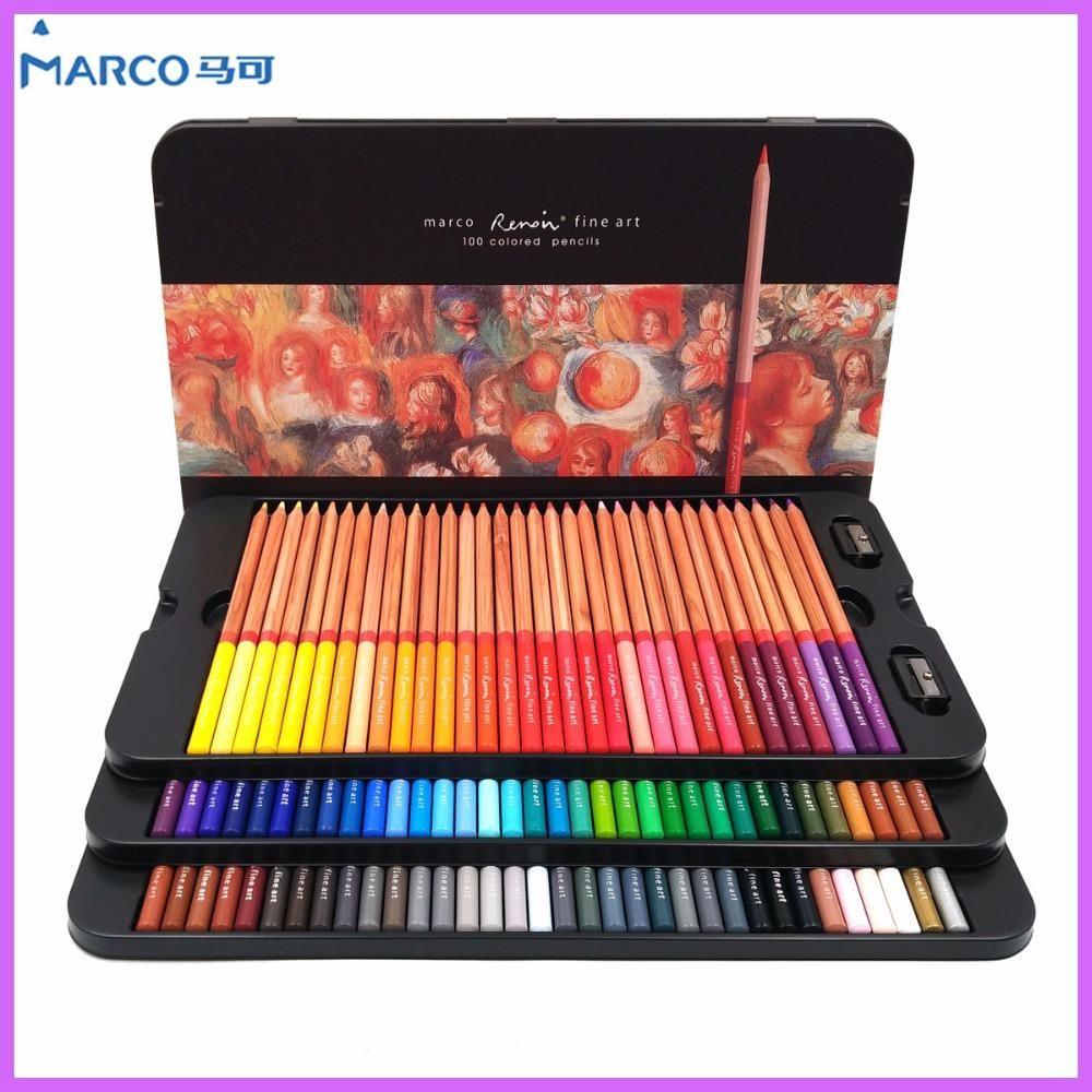Marco Renoir 24 36 48 72 100 Colors Pencil Set Lapices De Colores Profesionales Crayons Colouring Drawing Colored Pencil Set Colorful Drawings Colored Pencils