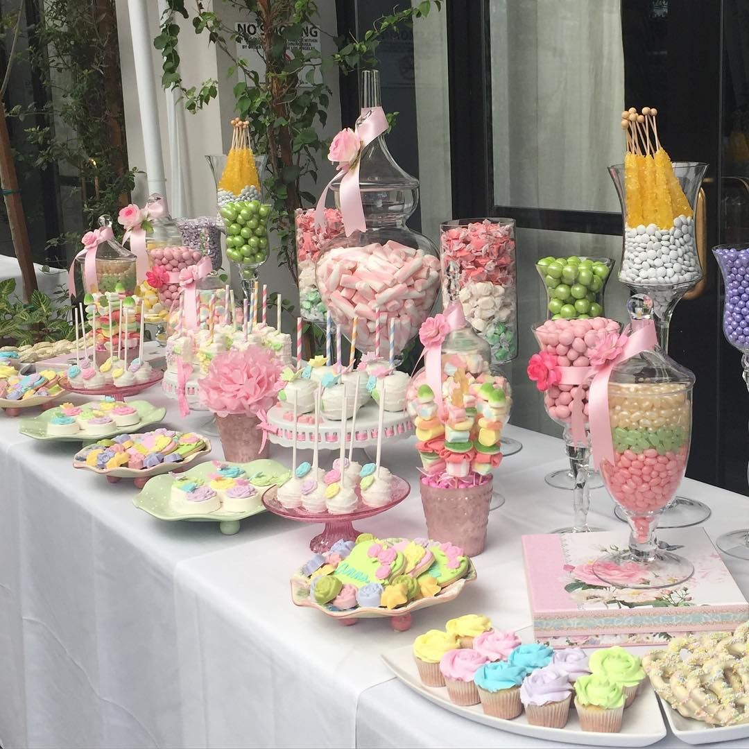 "CandybarCouture on Instagram: ""#Pastel #garden themed #babyshower #candytable....so #sweet! #itsagirl #flowers #desserttable!  #Candybar"" #sweetsixteen"