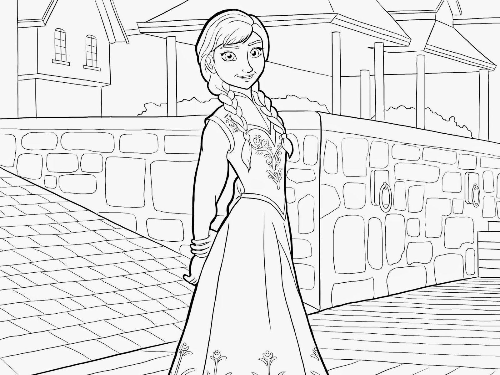 Frozen Elsa Anna Coloring Pages | Tegninger, Malebøger, Frozen
