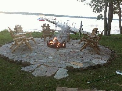 Lakeside Fire Pits Lakeside Patio With Fire Pit Patios Cottage