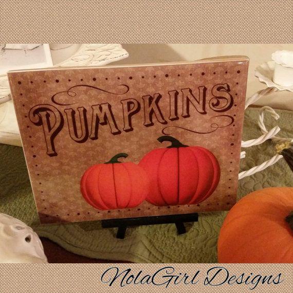 Fall Pumpkin Wall Art / Decorative Ceramic Tile by NolaGirlDesign