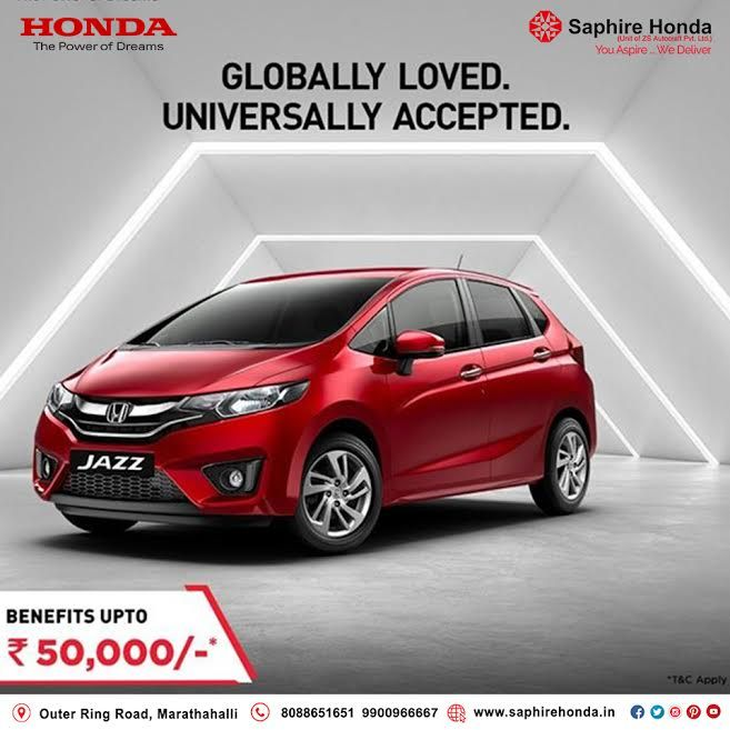 Honda Jazz is winning hearts across the globe with its stunning looks and feature packed interiors. Get exciting offers upto INR 50,000*. *T&C Apply.  Visit: www.saphirehonda.in or Call: 8088651651 #Hondajazz #HondaOffer #HondaCars