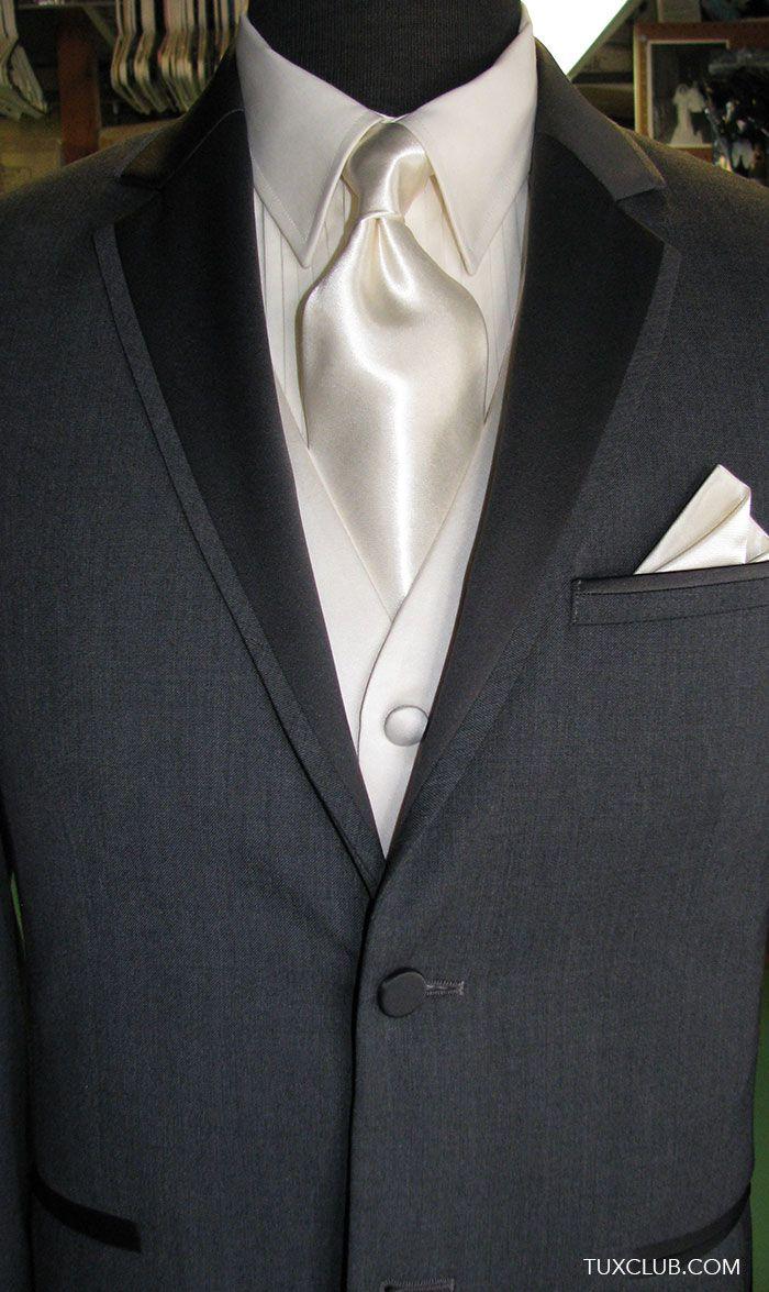 fa57b45dc378 Charcoal Gray Tuxedo with Off White Woven Vest and Cream Satin Dress Tie |  Tux Shop | Tuxedo Rentals | Suit Rentals | The Gentlemen's Tux Club San  Diego ...