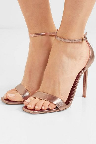 Saint Laurent 105MM AMBER METALLIC LEATHER SANDALS jg6LvzW