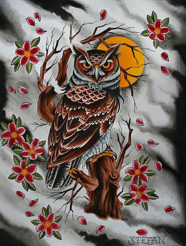 Japanese Owl Tattoo Designs Photo 1 Owl Tattoo Design Owl Tattoo Tattoo Japanese Style
