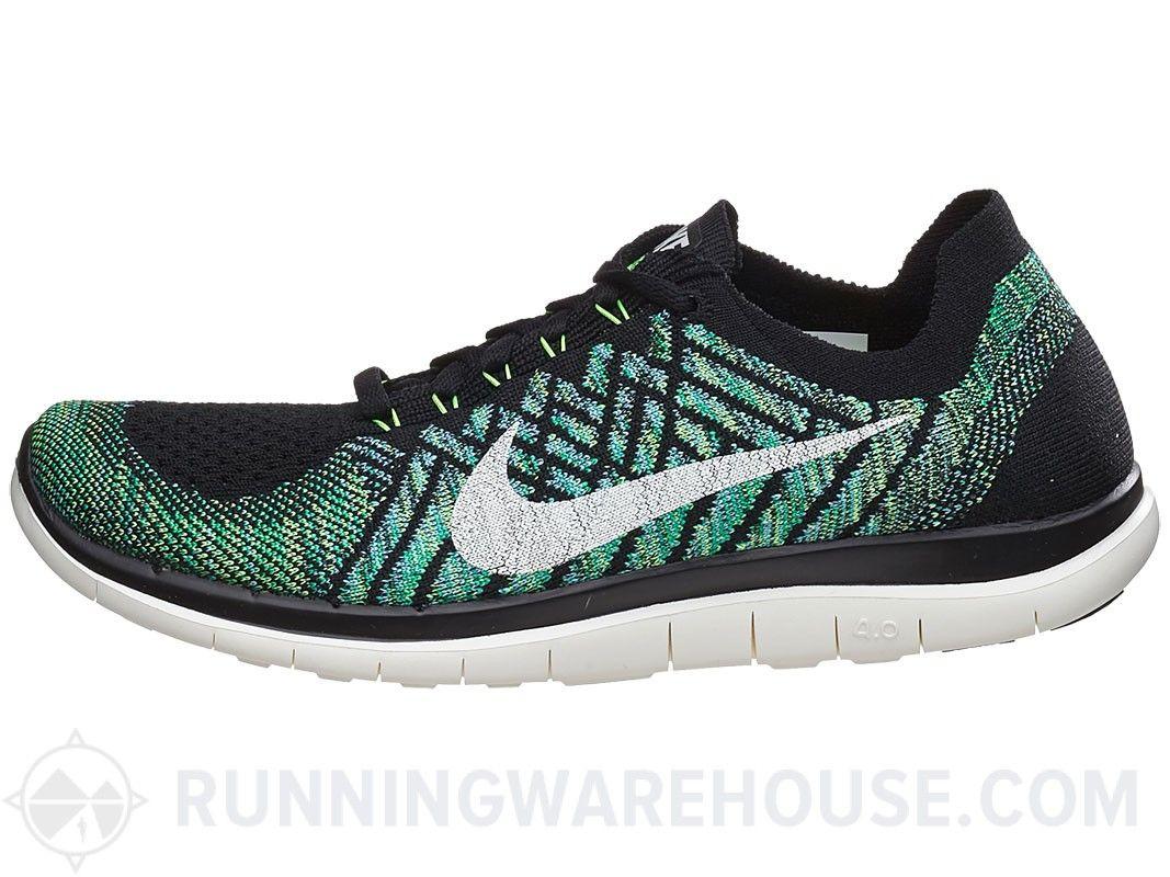 1277e0e3881 Nike Free 4.0 femininas Flyknit sapatos Black Vela Verde Tênis ...