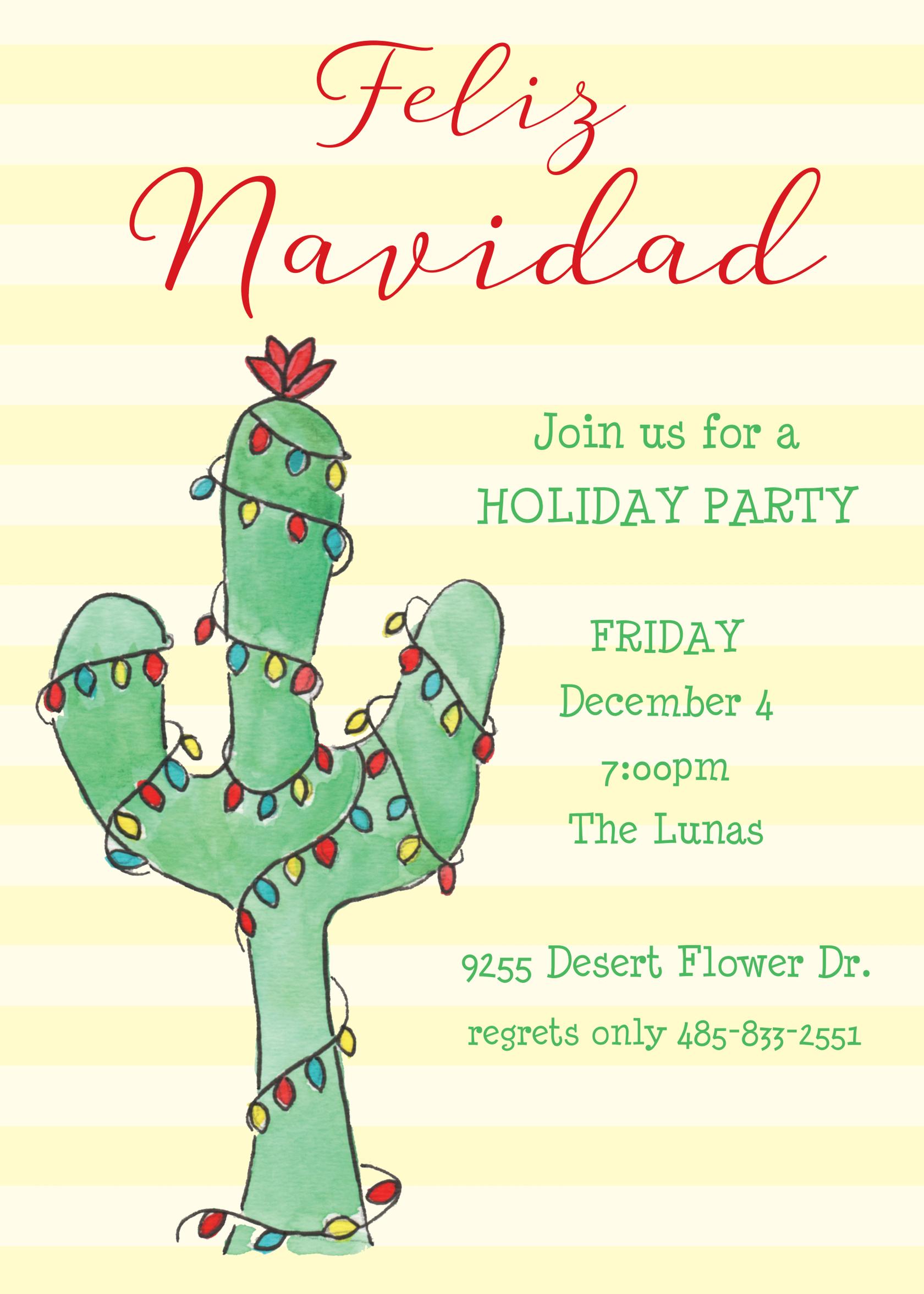 Feliz Navidad Invitation Christmas Party Invitations Printswell