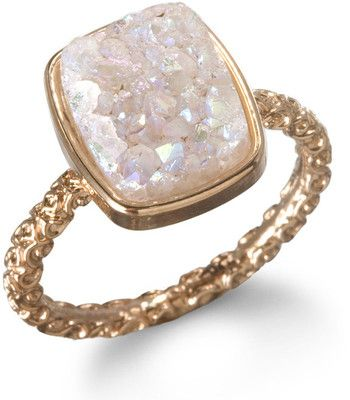 Nadia Stackable Druzy Ring, Halo by Dara Ettinger | Charm & Chain, #polyvore... I want!!!