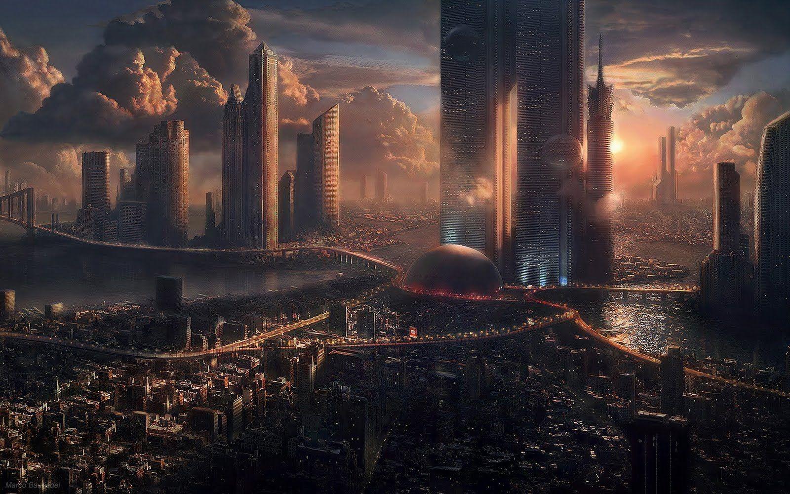 Artistic Wallpapers Desktop Wallpapers Fantasy Landscape Futuristic City Sci Fi City