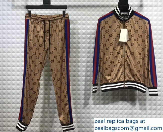 Gucci GG Jacquard Cotton Jacket And Pant Suit BeigeBrown