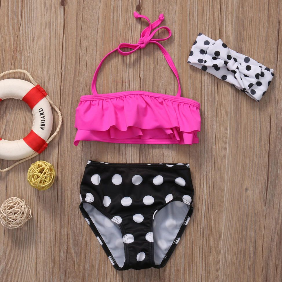 dfed792a3fd2f Girls Polka Dots Swimming Suit With Headband For Girls 1-5 Years Old #swim #kids  summer fun #swimwear kids