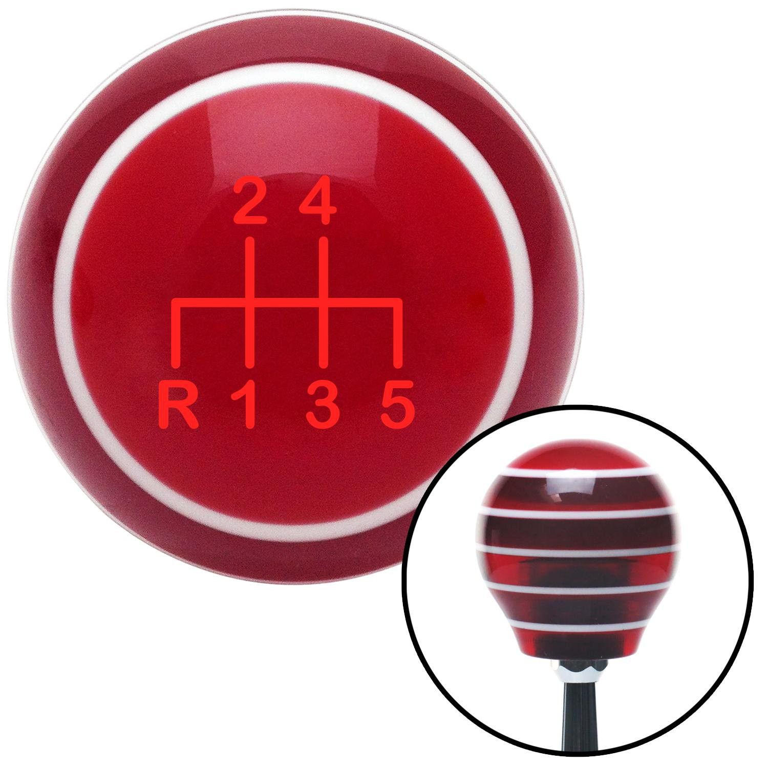 Red Shift Pattern 17n Red Stripe Shift Knob with M16 x 15 Insert - Give your interior the ultimate look. American Shifter's Elite(TM) series shift knobs are made from the highest quality components resulting in a superior feel on every shift. Each shift knob is designed and customized in the USA by skilled shift knob artisans who have a trained eye on every detail. American Shifters shift knobs offers an exclusive aluminum threaded insert designed to be screwed onto your shift arm. You…