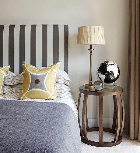 Suzie Kim Stephen Dwell Studio Oversize Stripe In Charcoal Fabric Upholstered Headboard