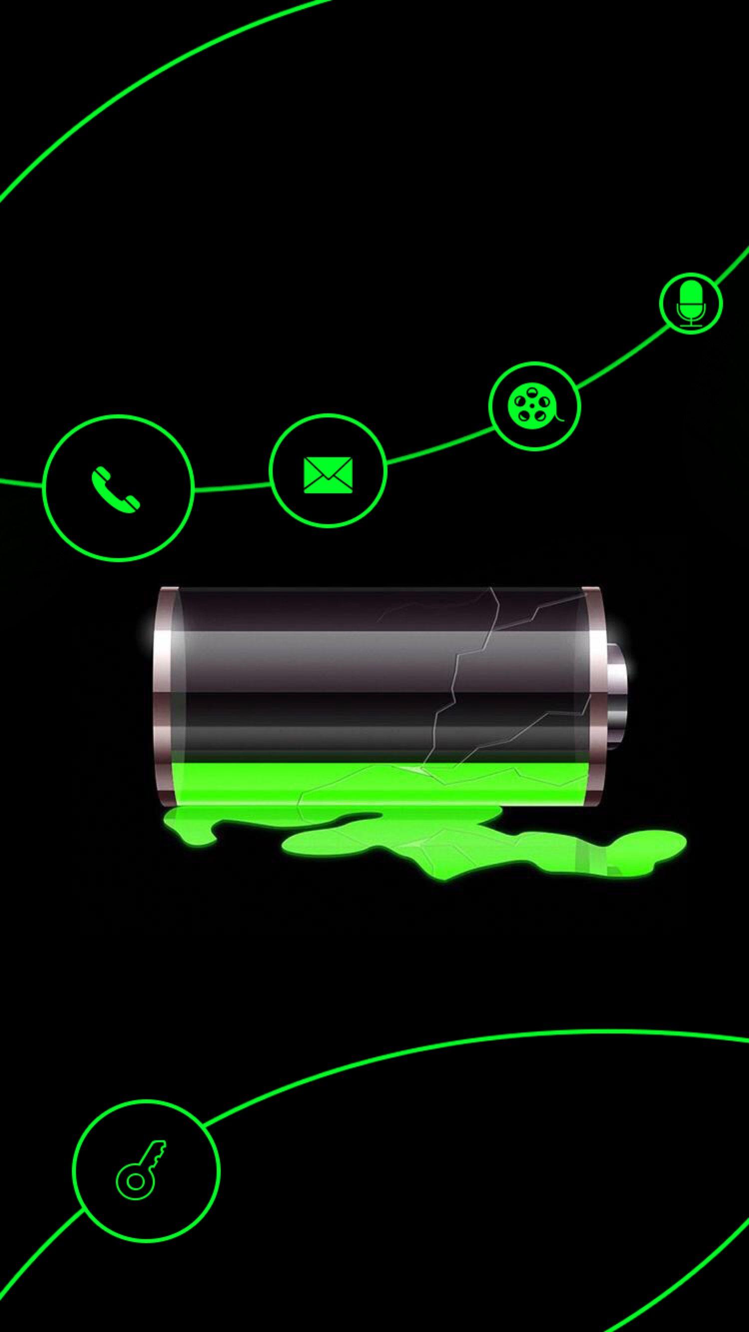 TAP AND GET THE FREE APP Lockscreens Art Creative Battery Charging Black Green