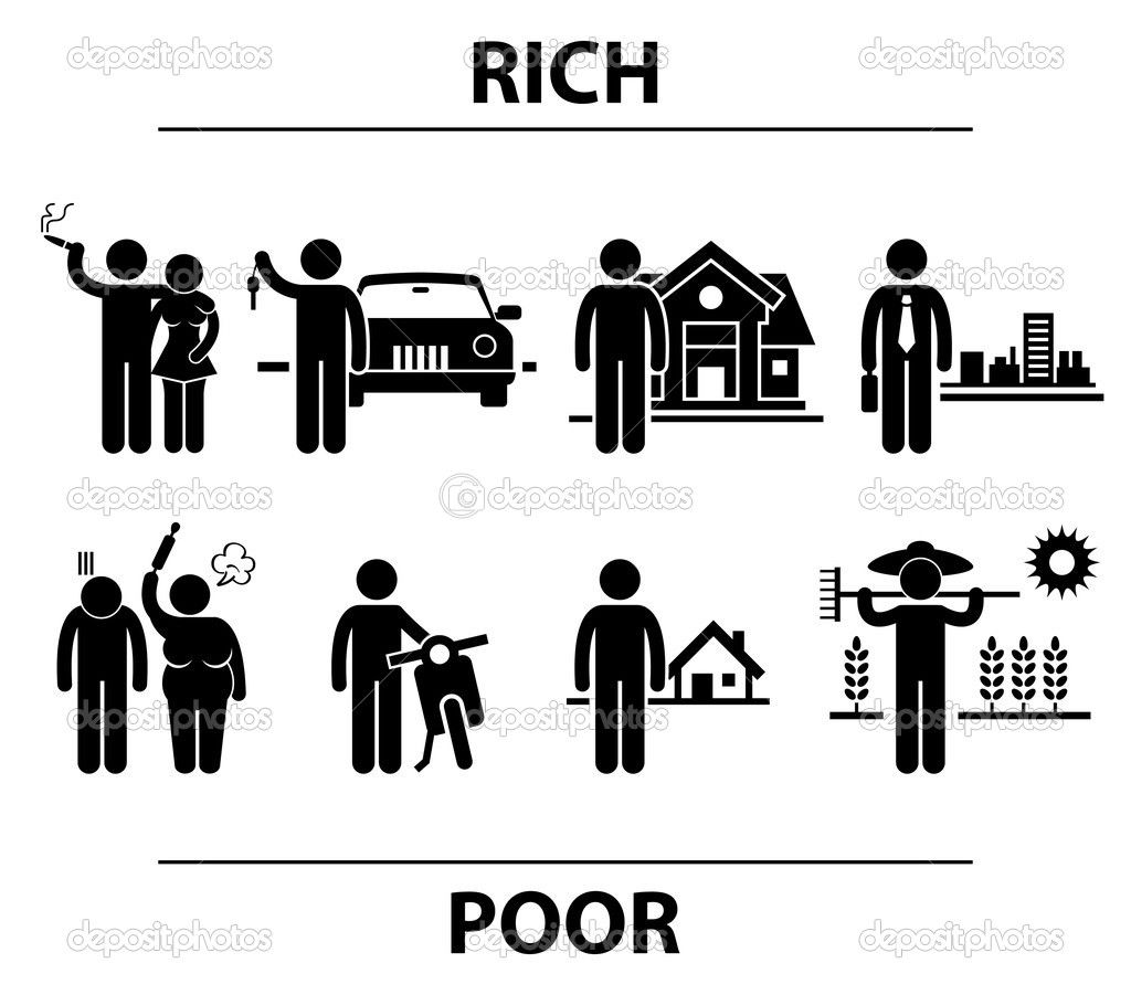 What makes rich so rich and poor so poor what can we do to rich and poor man financial differences concept stick figure pictogram icon biocorpaavc Images
