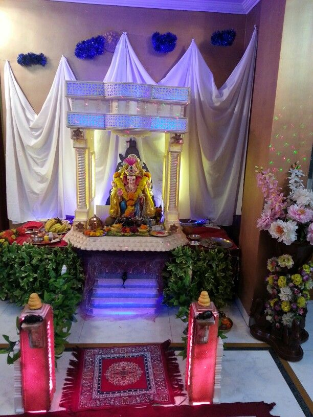 Ganpati festival decoration at an Indian home