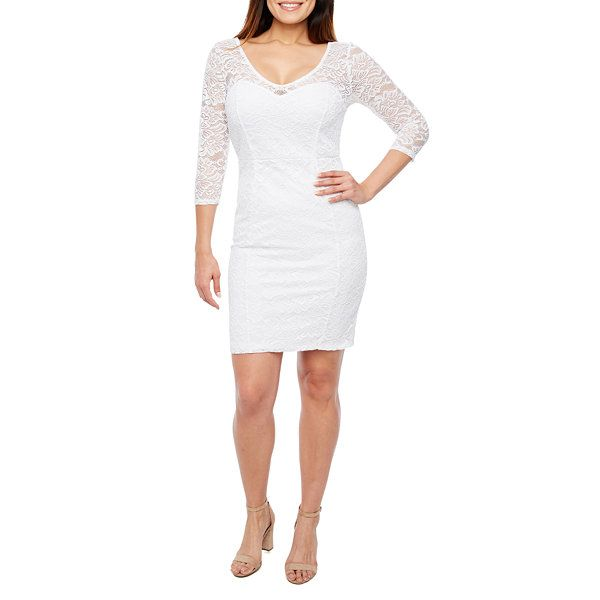 Bold Elements 3/4 Sleeve Textured Lace Dress
