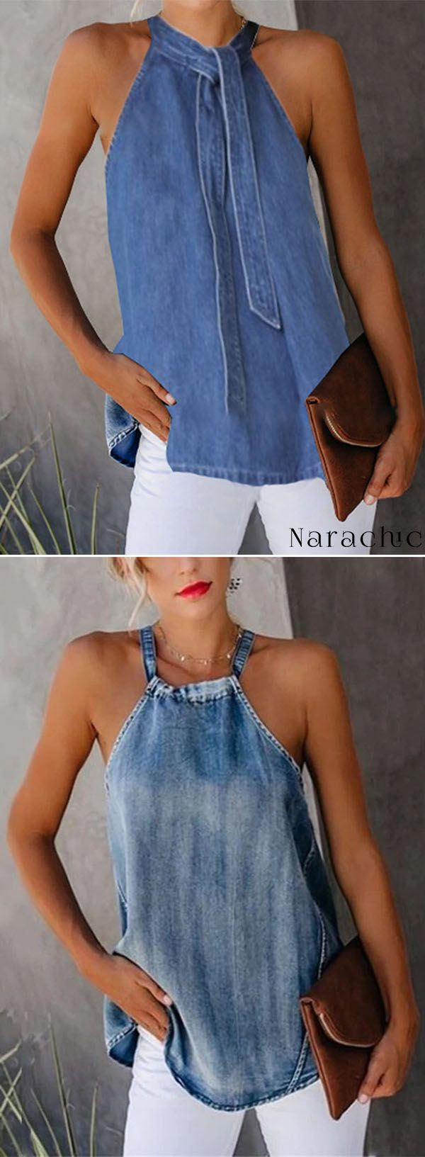 Hot Sale!Sexy Off-Shoulder Denim Sleeveless Vest