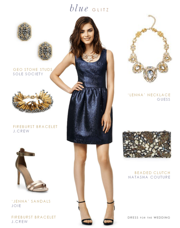 Wedding Guest Outfits Blue Metallic Tail Dress To Wear A