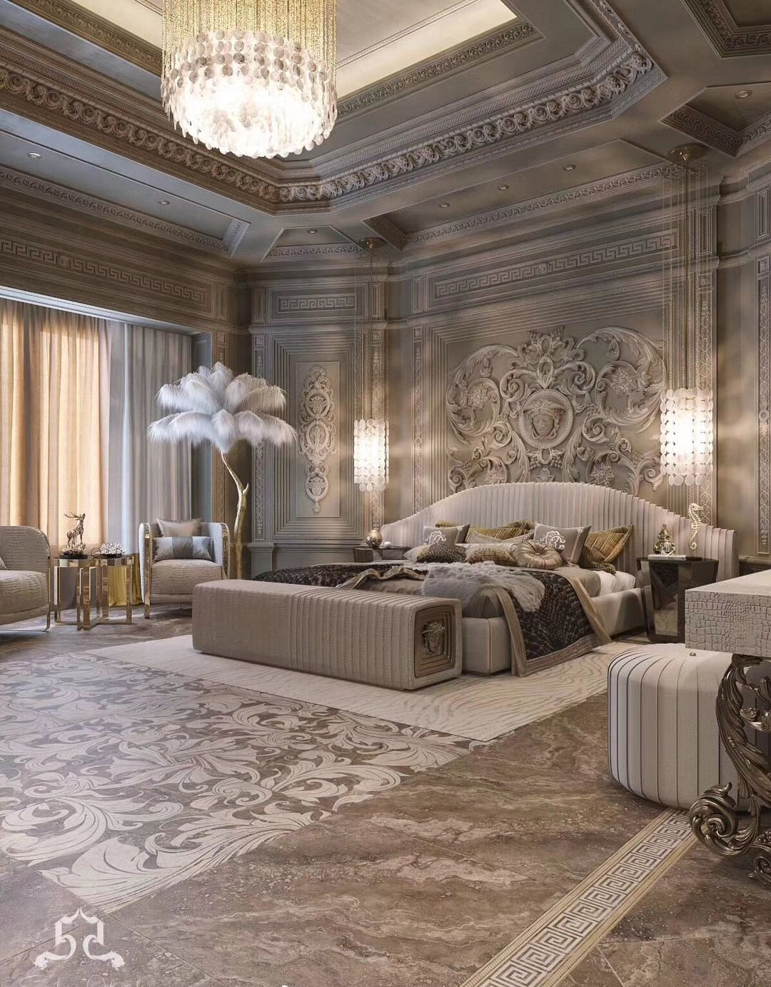 Just For Viewing Interest Huge Bedroom I Like The Feathered Palm And The Color Of The Walls Beaut Luxurious Bedrooms Luxury Bedroom Design Luxury Home Decor