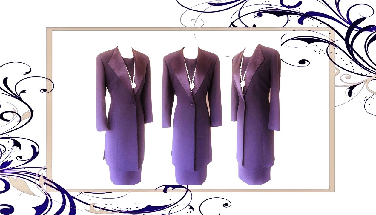 Condic dark purple embroidered lined dress u long jacketcoat