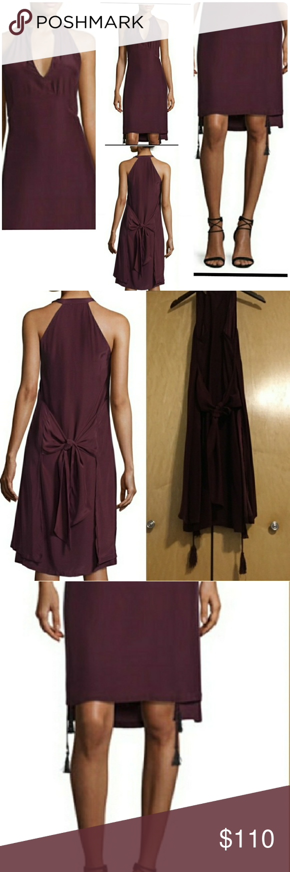 Foundrae Tassel-Trim Apron Dress, Burnt Raisin FOUNDRAE Tassel-Trim Apron Dress, Burnt Raisin Boho-feel dress with cutaway shoulders and tassels. Split round neckline. Sleeveless. Pullover style. Empire seaming. Cutaway front and back shoulders. Attached tassels at outer hem. Double layer back with center self-tie. About 40