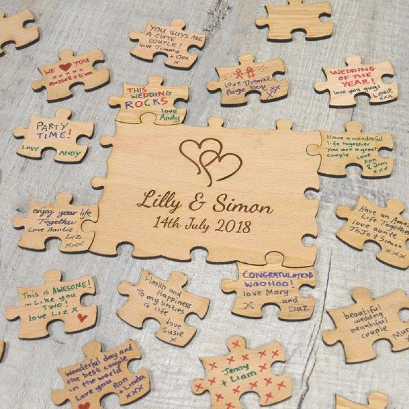 Decor,Groom Personalised Oak Jigsaw Puzzle Wedding Guestbook Bride Guest Book