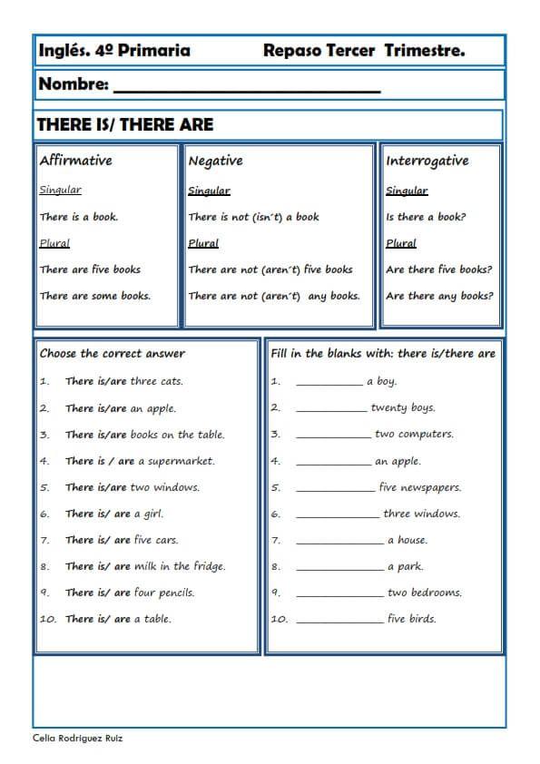 Fichas inglés cuarto primaria niños de 9 10 años – Artofit