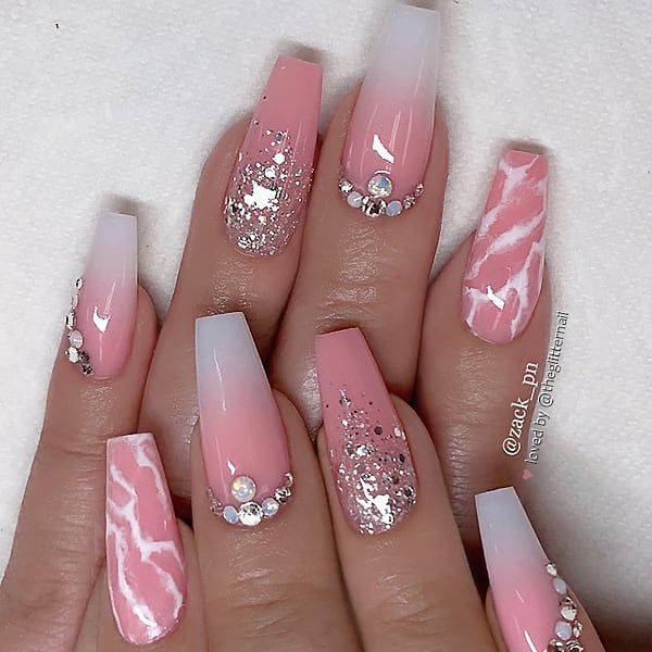 Nail Polish Arti Indonesia: Peach Ombre, White Marble, Silver Glitter And Crystals On