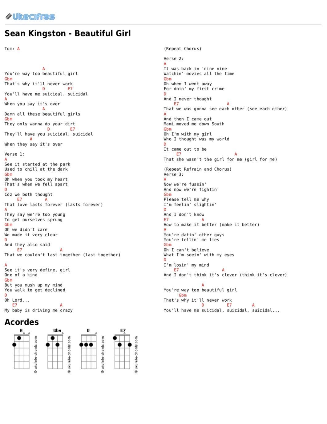 Beautiful Girl Chord : beautiful, chord, Beautiful, Kingston, Ukulele, Songs,, Ukulele,, Chords