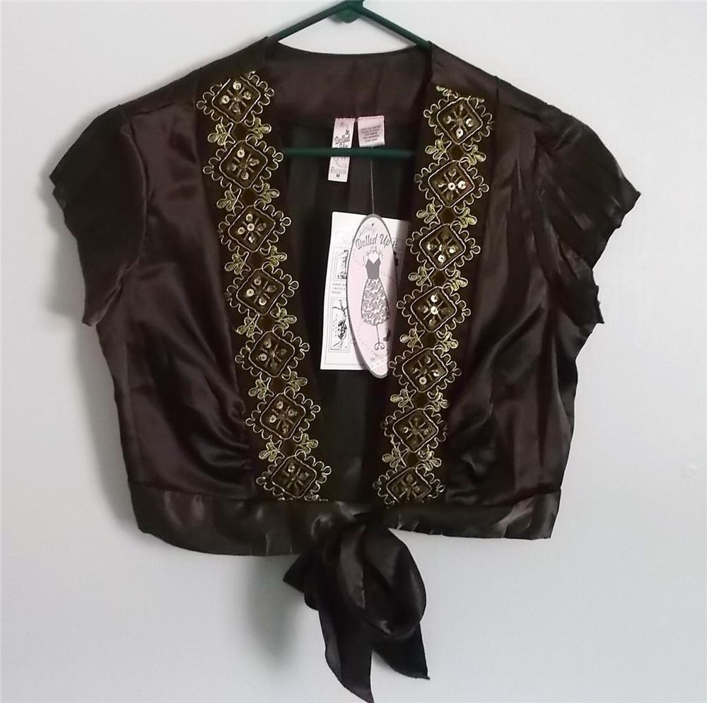 NWT Dolled-Up Brown Crinkle Satin~Gold Embroidery~Tie-front~Festival Short Top M