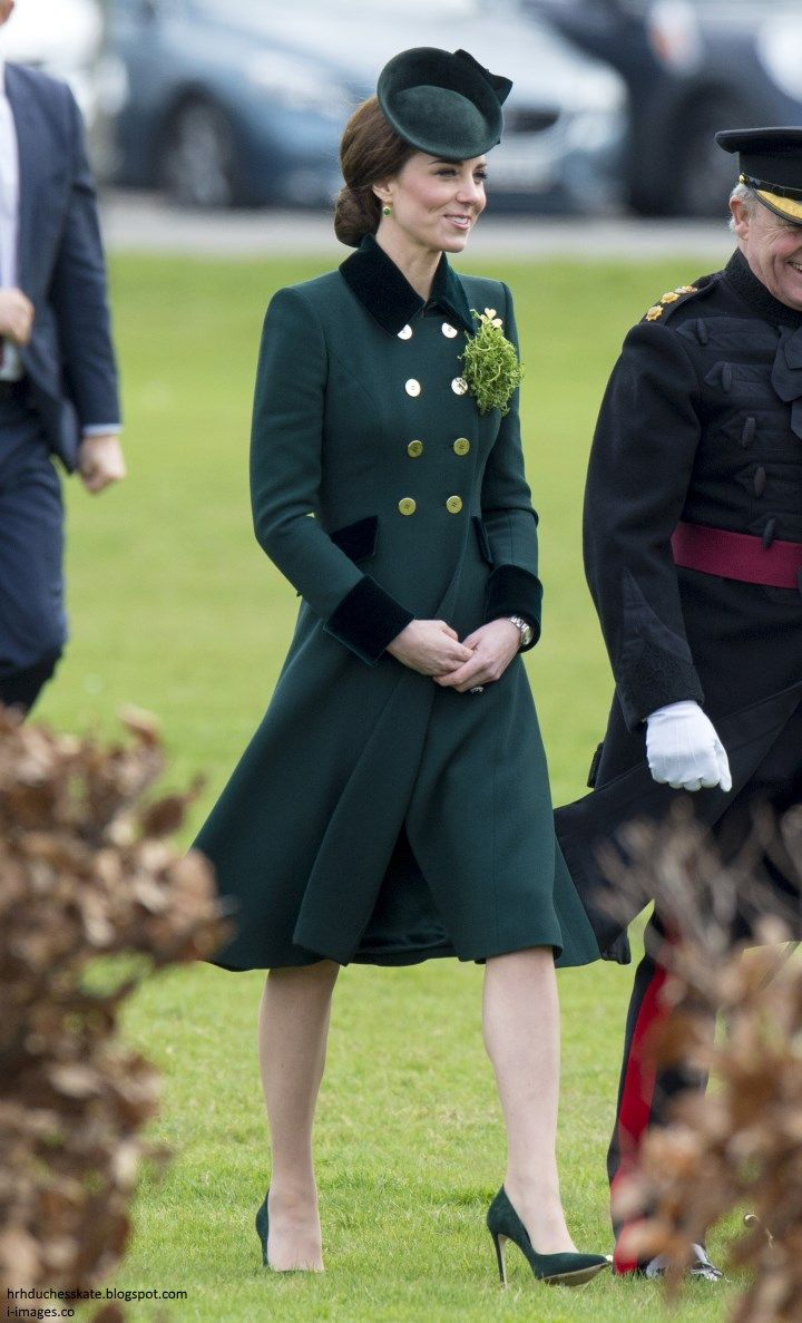 hrhduchesskate: Patrick's Day Parade, 1st Battalion Irish Guards,Mons Barracks, Aldershot, March 17, 2017-The Duchess of Cambridge wore a bespoke Catherine Walker coat dress with velvet trim and accessorized with a percher hat, green shoes, and the regiments' gold shamrock pin