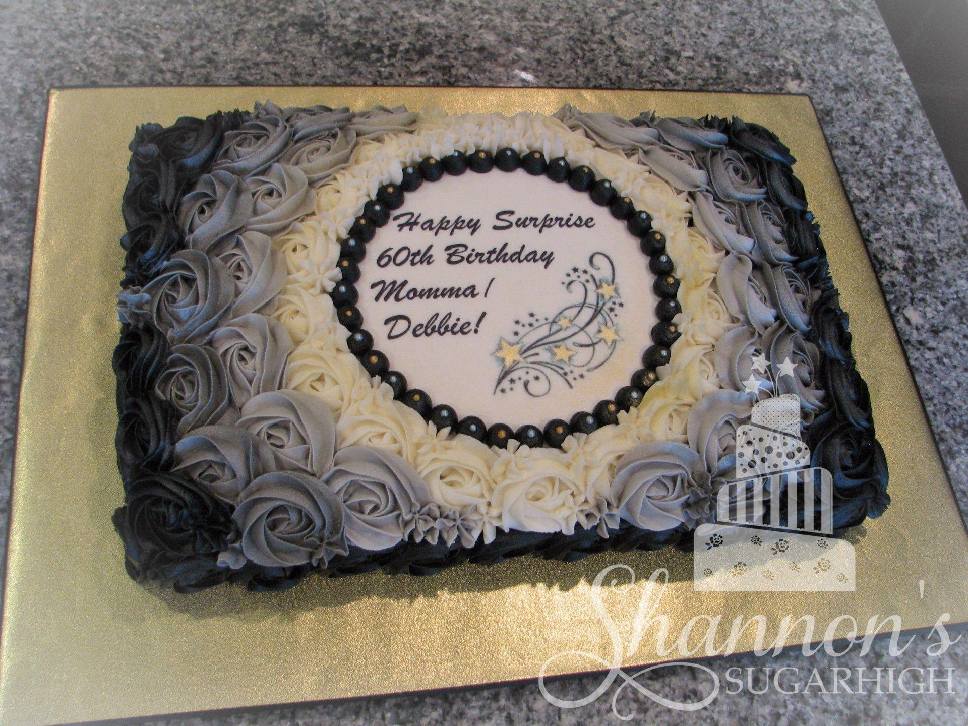 Buttercream Rosette Sheet Cake In Black Grey White Gold And