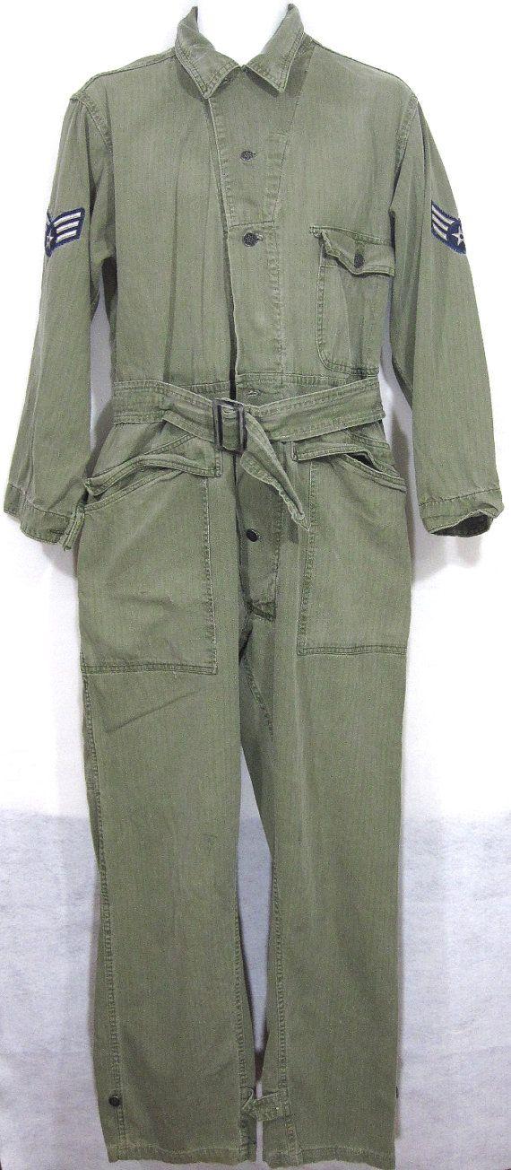 Vintage US Army PostWWII HBT Coveralls Sz.M 1940's by KumaKumaShop