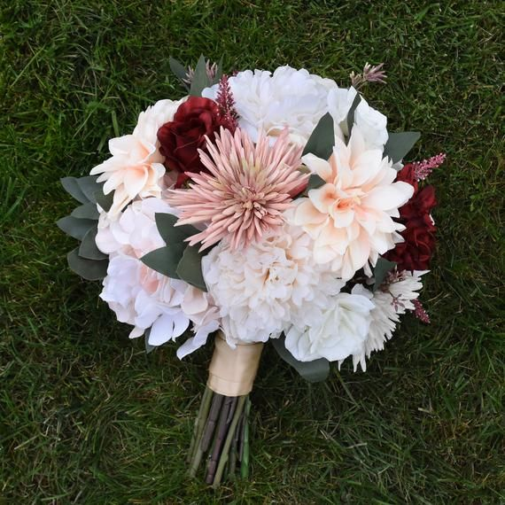 Blush Bouquet, Blush and Burgundy, Wine Bridal Bouquet, Wedding Bouquet, Bridesmaids Bouquet, Dahlia #whitebridalbouquets