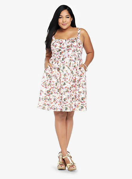 Best Amazing Short White Plus Size Sundress With Small Floral 400 x 300
