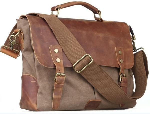 429b4e5f2b372 Vintage Style Canvas Leather Flap-over Messenger Bag with Brass Accents