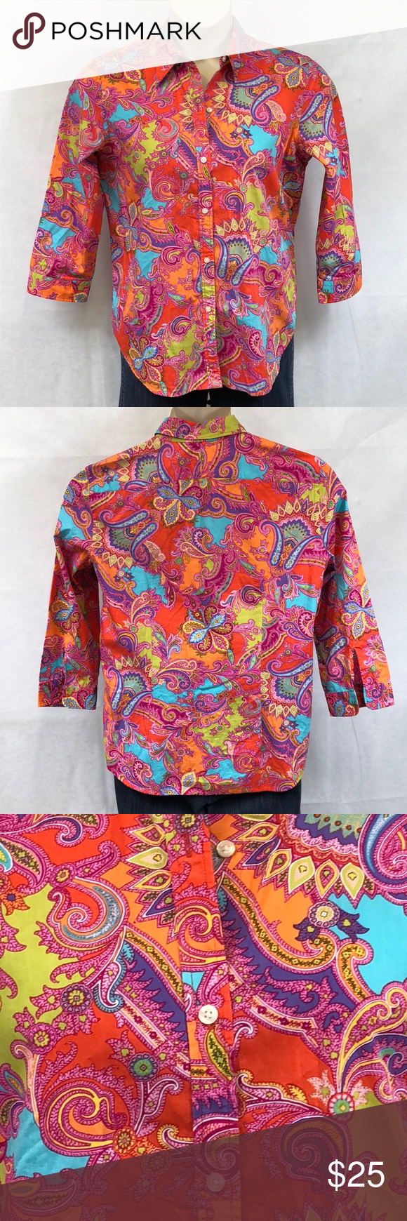f2eb2610 Chaps paisley button down cotton shirt Fun and vibrant colored paisley  print button down shirt. 3/4 sleeves 100% cotton. VGUC Chaps Tops Button  Down Shirts