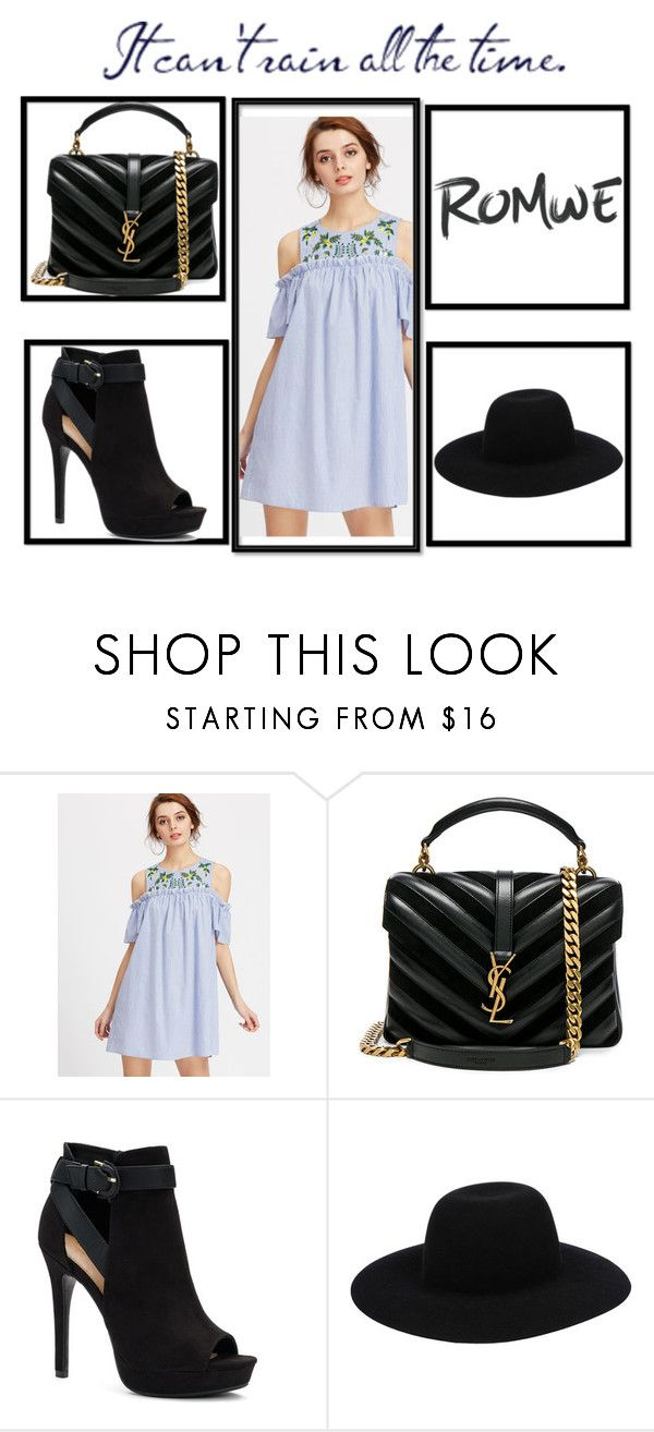 """""""Romwe"""" by malamelani-1 ❤ liked on Polyvore featuring Yves Saint Laurent, Apt. 9 and Off-White"""
