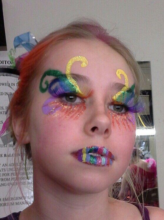 Rainbow circus makeup for Pippin.