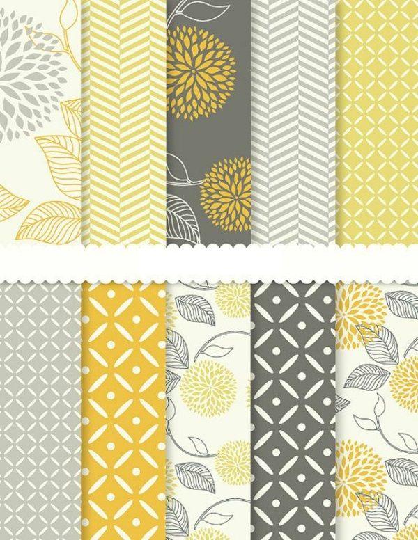 Gelbe Wandgestaltung Tapeten Gestalten Wohnzimmer Wohnen Papier Dahlie Papierblumen Digital Einklebebuchpapier