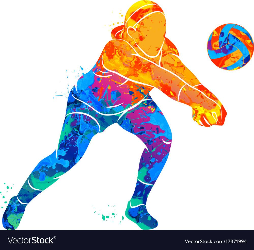 Abstract Volleyball Player Vector Image On Vectorstock In 2020 Volleyball Wallpaper Volleyball Players Volleyball Photography
