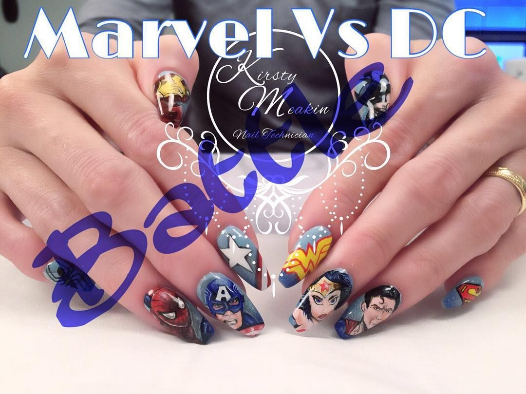 Marvel Vs DC Nail Art Battle. DC Nails - Wonderwoman, Batman ...