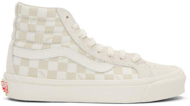 fc980162ff Vans Beige and Off-White OG Sk8-Hi LX Sneakers