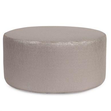 Universal 36 Round Glam Pewter Ottoman Slipcover Ottoman Round Ottoman