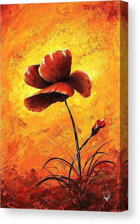 Art Canvas Print Featuring The Painting Red Poppy 012 By Edit Voros Mohn Malerei Pastell Malerei Wie Man Blumen Malt