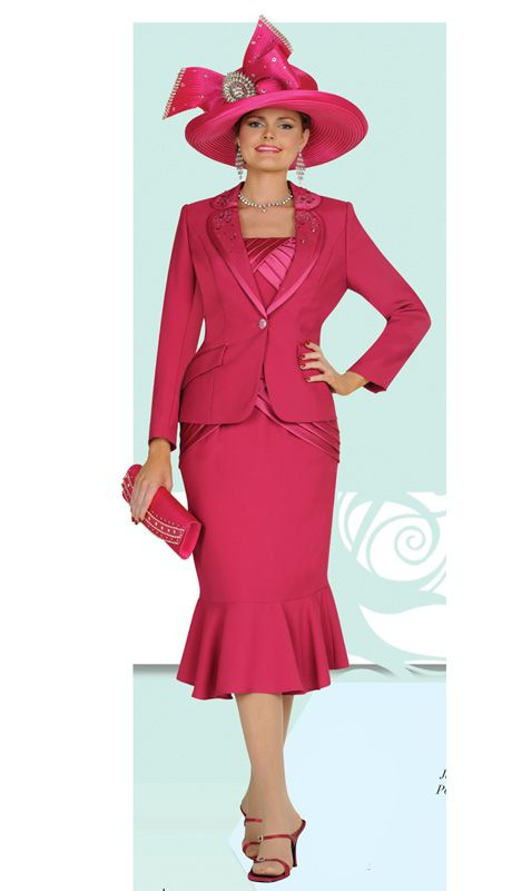 3 Piece Womens Church Suit With Tank Jacket And Skirt Hat Also