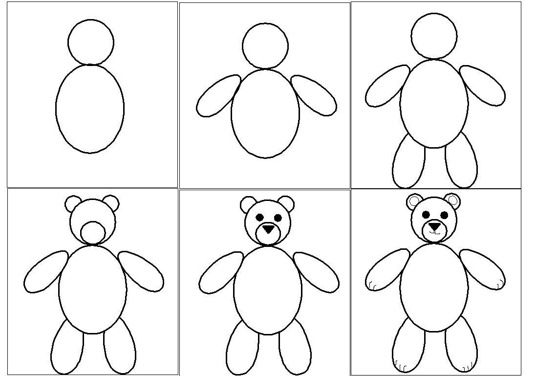 Dessin en 6 tapes d 39 un ours en peluche ours pinterest - Dessin d un ours ...